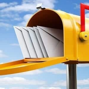 Yellow Mailbox Opened With Mail