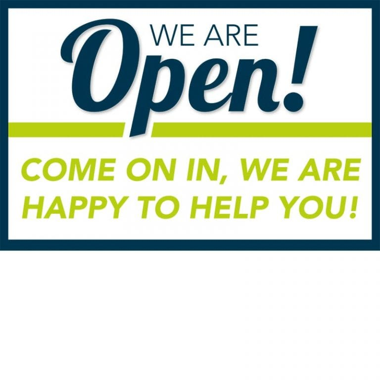 Covid-We Are Open indoor banner