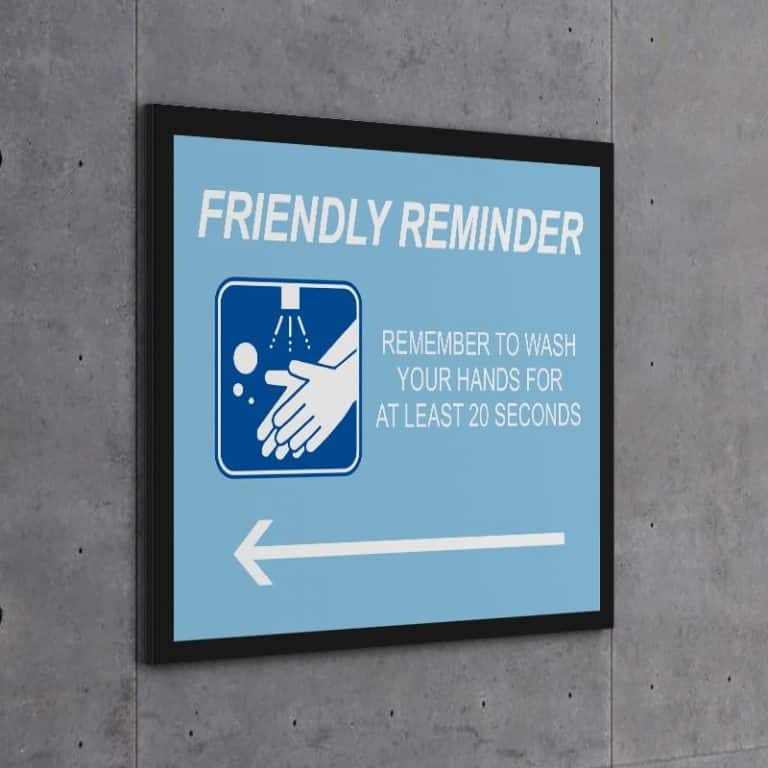Wall Sign-Friendly Reminder Wash Hands