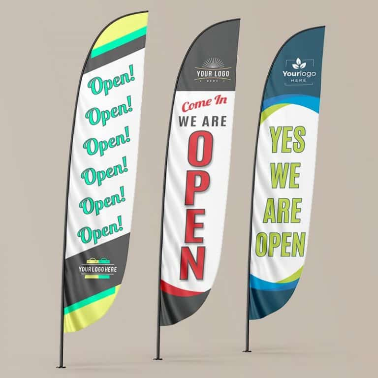 We are open-Feather Flag examples