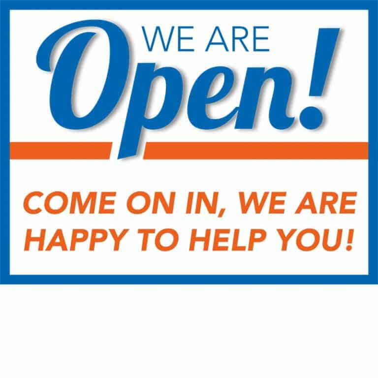 Covid19-Yard Signs_We are open-orange-blue