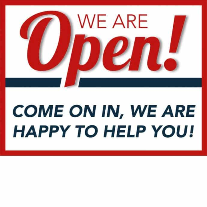 Covid19-Yard Signs_We are open-red-blue