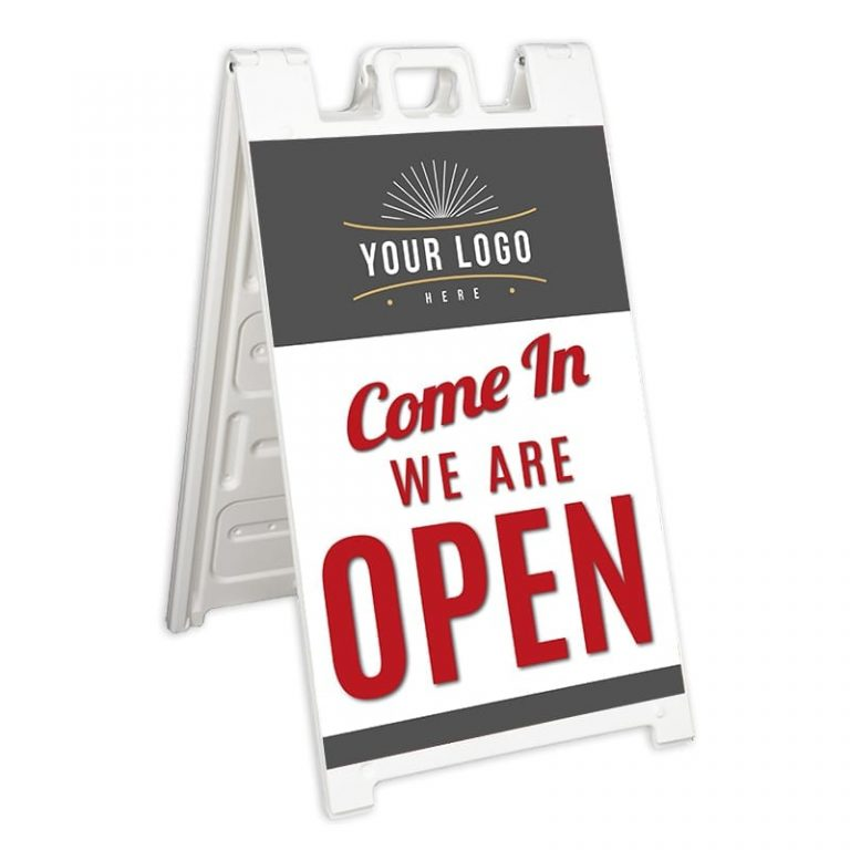 White Signicade with We Are Open Sign