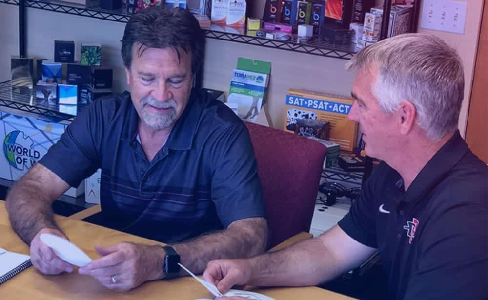 Jerry consulting with customer